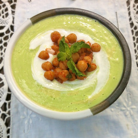 Cucumber Avocado Soup with Moroccan Chickpeas