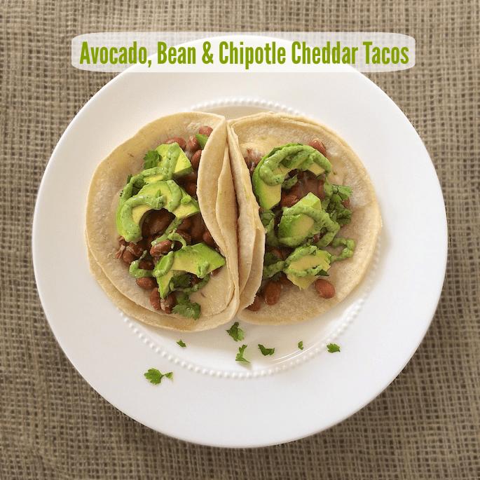 Avocado, Bean & Chipotle Cheddar Tacos | Teaspoonofspice.com