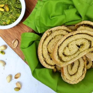 Arugula Pistachio Pesto Bread {Holiday Recipe Exchange}