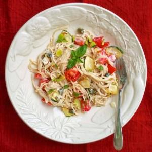 Pasta with Caper Alfredo Sauce – Improv Challenge