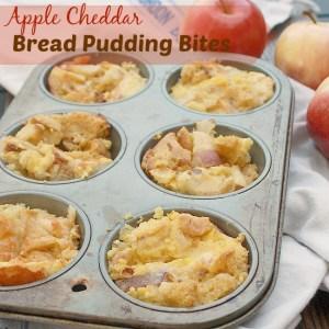 Apple Cheddar Bread Pudding Bites