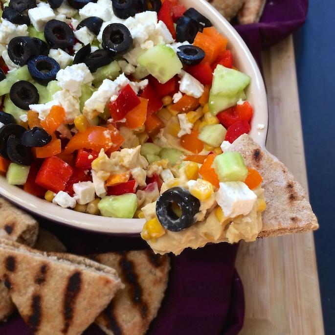 Loaded Veggie Hummus Dip   Teaspoonofspice.com