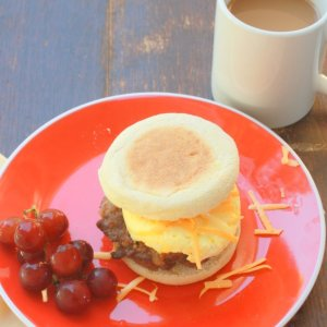 Quick Sausage, Egg & Cheese Breakfast Sandwich (packed with protein!)