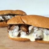 Grilled Mushroom Cheesesteaks | Teaspoonofspice.com
