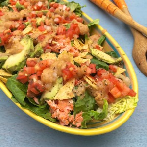 Roasted Avocado and Salmon Taco Salad
