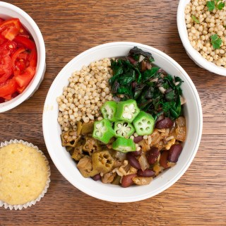 Power your meal with veggies and comfort food like Red Beans & Rice and Garlicy Greens: SOUL FOOD POWER BOWL - VEGETARIAN | @TspCurry For more protein-powered recipes go to TeaspoonOfSpice.com