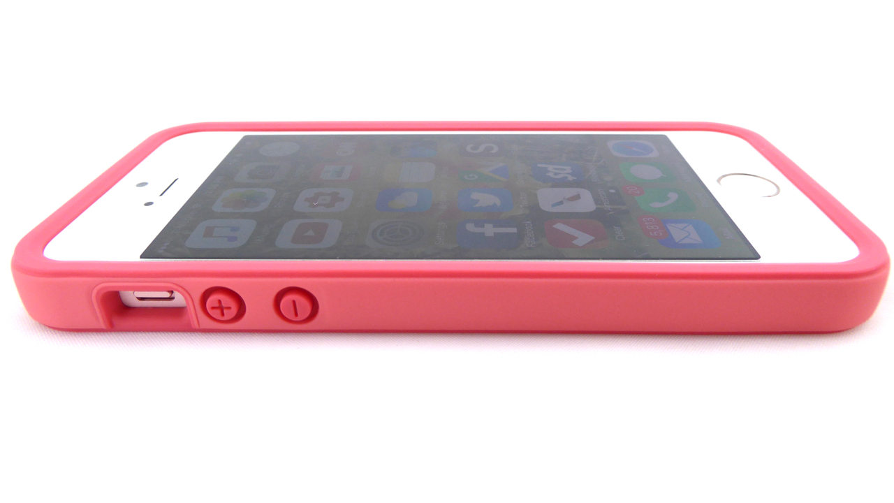 RhinoShield Crash Guard for iPhone SE in Coral Pink: Front Side View
