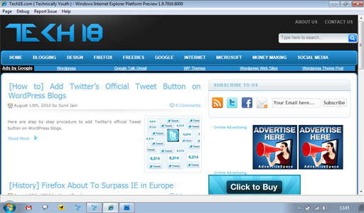 Internet Explorer 9 preview platform1 Microsoft's Internet Explorer Turns 15 Today!