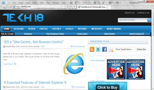 IE9 clean Browser image1 20 Amazing Features of Internet Explorer 9