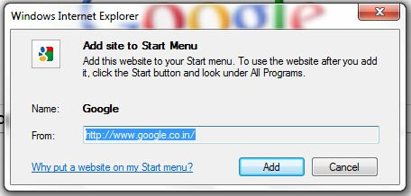 IE9 site start menu1 20 Amazing Features of Internet Explorer 9