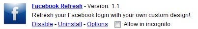 Google Chrome Facebook Refresh Extension Options
