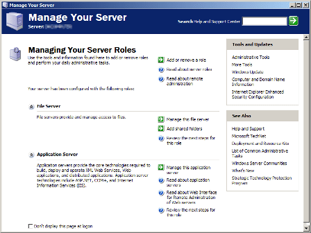 Microsoft Windows Server 2003 Manage Your Server