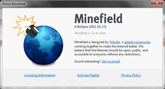 firefox 4 beta 10 minefield image Mozilla Planning To Ship Final Firefox 4.0 By February End!