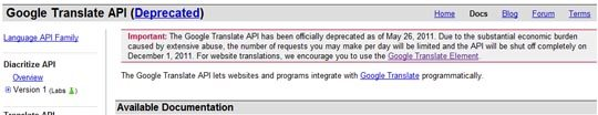 google translate api deprecated