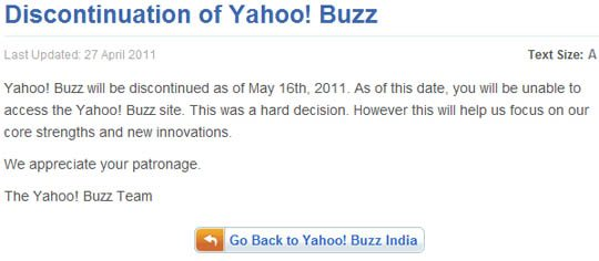 yahoo buzz india disconnected image Yahoo! Buzz India Will Be Discontinued Today!