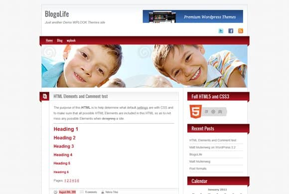 1 blogolife html5 wordpress theme 40+ Best Free HTML5 WordPress Themes & Frameworks