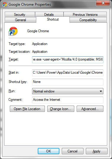 google chrome properties add switch image How to Remove Facebook Timeline in Chrome/Firefox