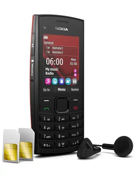 Nokia X2 02 dual sim card with Earphone