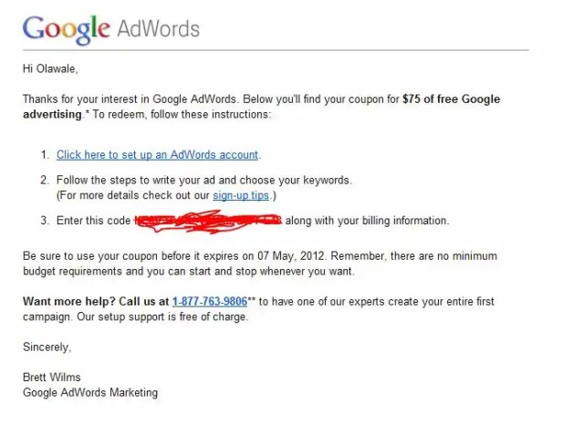 How to get $75 Free Google Adwords coupon code for youtube video advertising