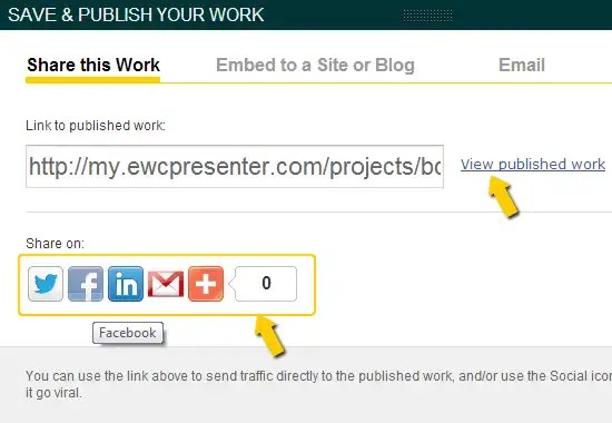 The new EWC Presenter Save, Share, and Publish Function