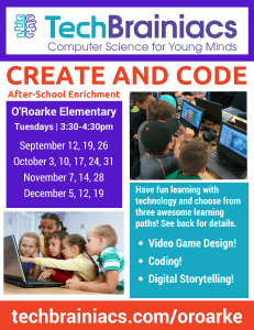TechBrainiacs O'Roarke Create and Code 2017-2018 Flyer Front