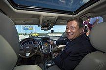 Bill Shuster in the self-driving SRX.