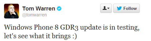 Windows Phone 8 GDR3 in testing