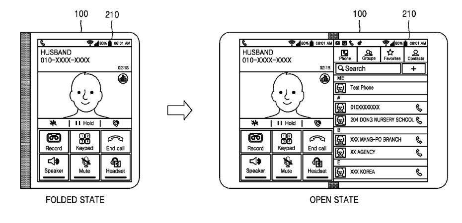 Samsung foldable tablet patent