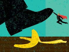 Help Avoiding Mistakes A miniature, super businessman saves someone from slipping on a banana peel. The shoe, man, and banana peel are on a separately labeled layer from the background.