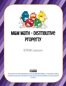 STEM - M&M Math Distributive Property