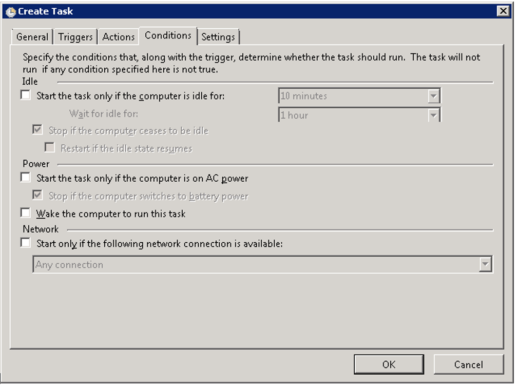 Conditions for Virtualbox task