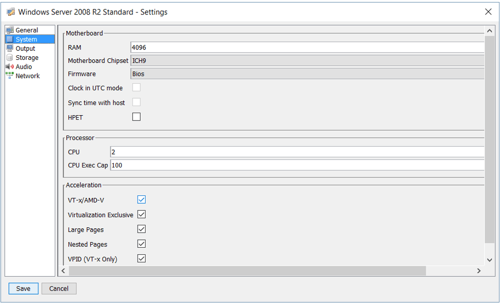 Windows 2008 R2 settings
