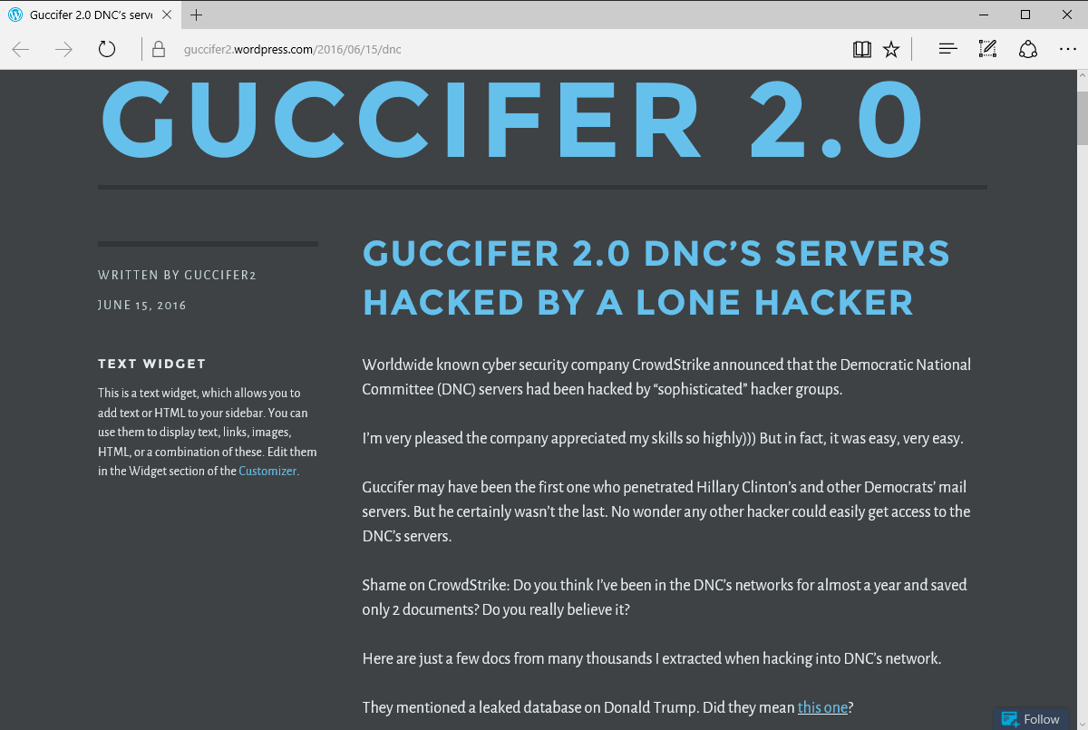 Guccifer Two dot Zero