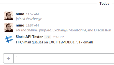 First Slack Message from Exchange