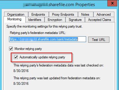 ADFS management tool - monitoring tab
