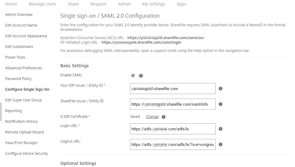 Sign out page configuration in Citrix ShareFile