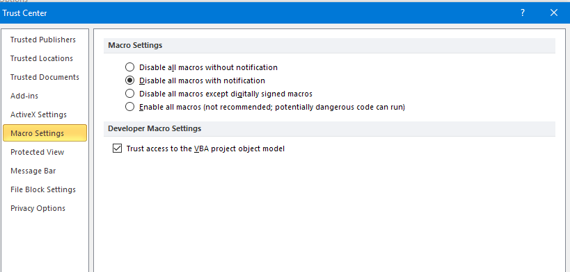 Microsoft Office Macro settings