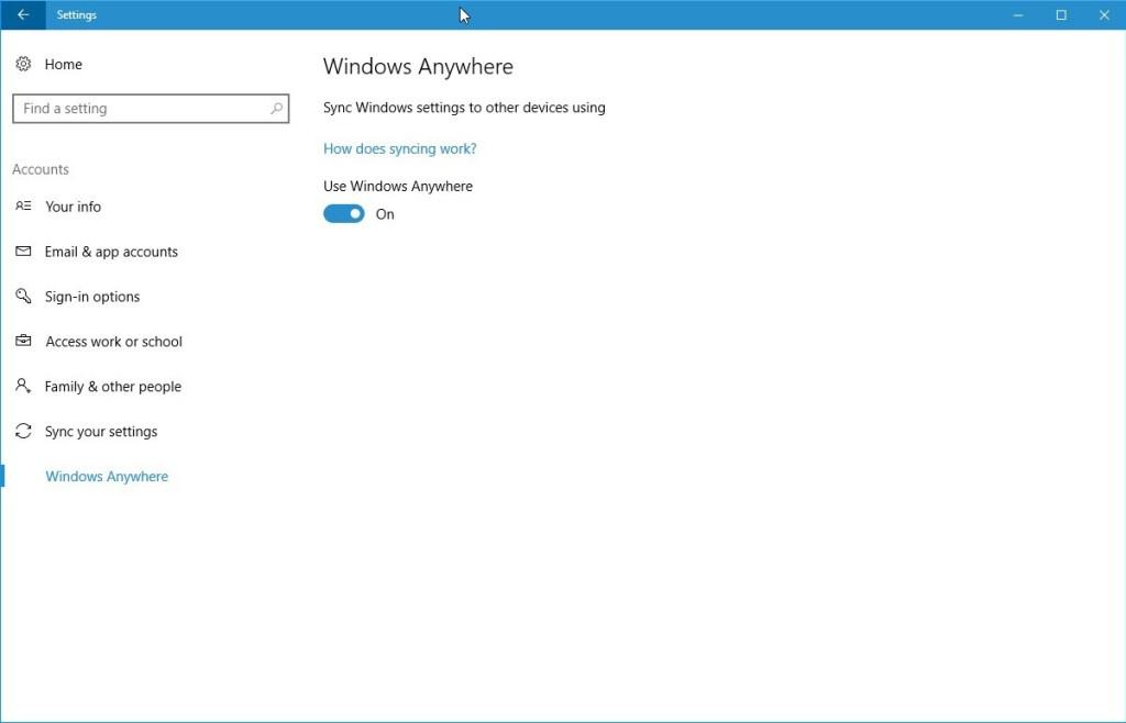 Windows Anywhere option in Windows 10 Insider Build