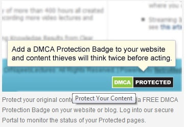 dmca badges to protect pages