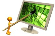 16407_orange_person_a_cartoonist_or_web_designer_using_a_paintbrush_on_a_flat_screen_computer_monitor_to_create_an_image_or_to_design_a_website