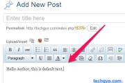 default text wordpress