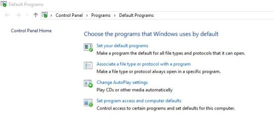 How to change default browser in Windows 10 form Default programs list