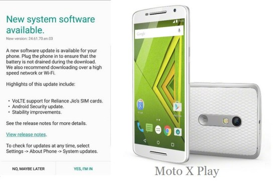 Moto X Play OTA update with Reliance Jio VoLTE support