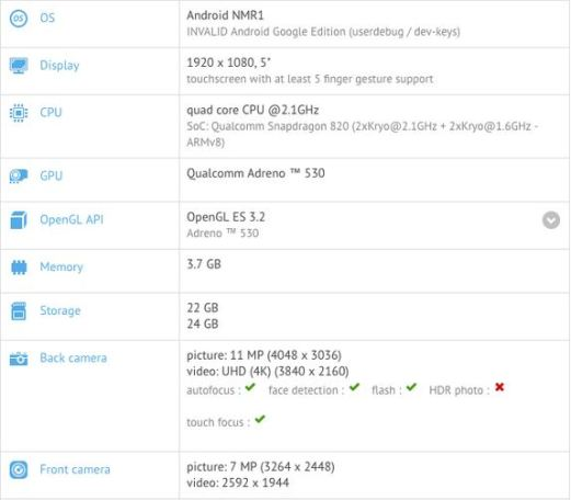 Nexus Sailfish specifications leaked in GFXBench listing