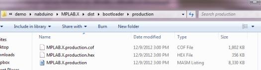 nabduino hex file efter compilering
