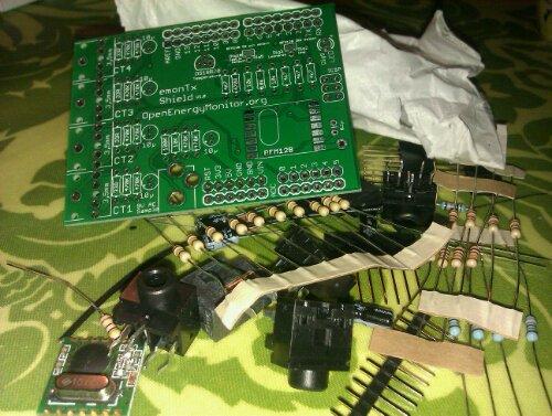 emonTXshield komplet kit med komponenter