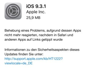 Laut iPad / iPhone ist das Update 9.3.1 lediglich knapp 25 MB groß