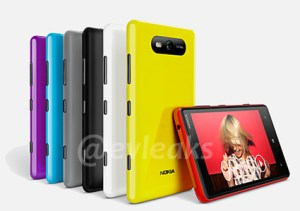 Multiple colors of the Lumia 920 lined up