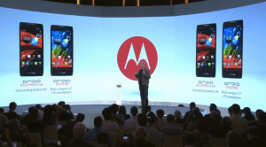 Motorola at the stage talking about new products