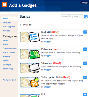Blogger - Add Gadget